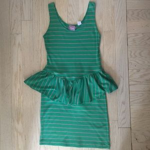 Vintage Striped Dress with Peplum, Size M